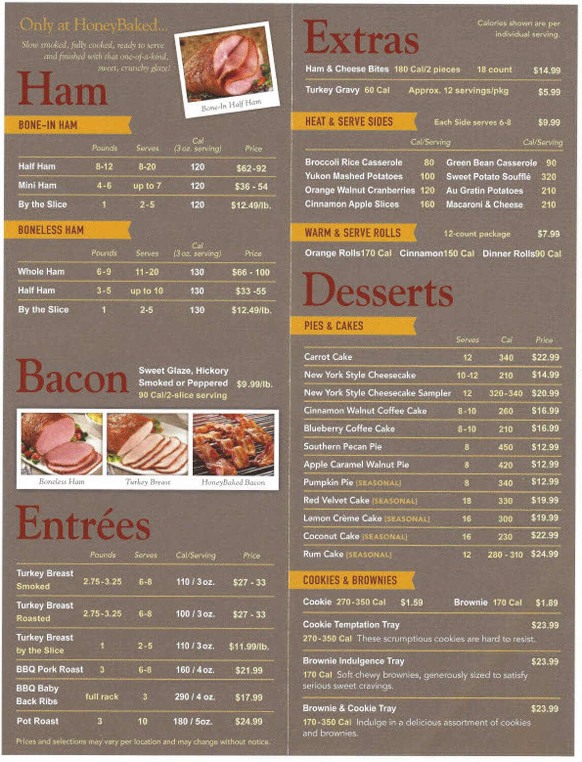 Honey Baked Ham Restaurant Menu