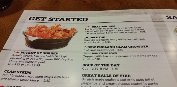 Joe's Crab Shack Menu – 1
