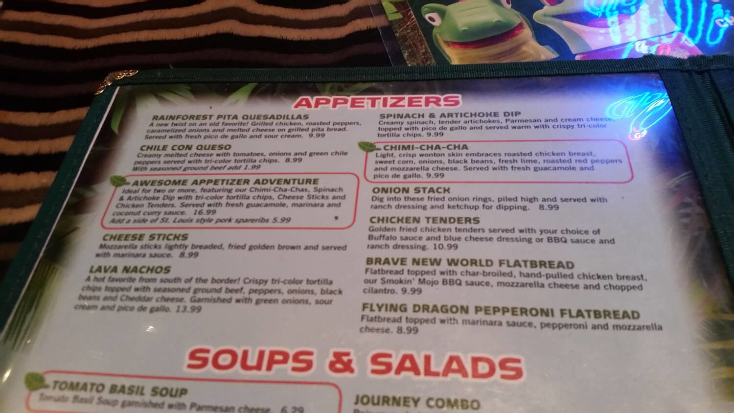 Rainforest Cafe Menu – 1