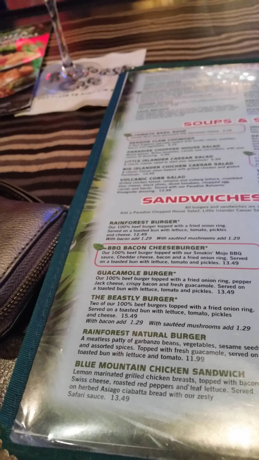 Rainforest Cafe Menu – 3